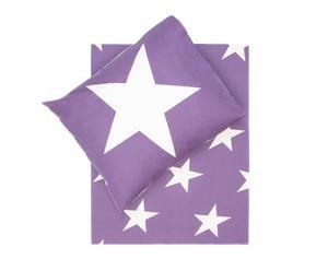 Dekbedovertrek-set Stars I, paars/wit, 140 x 200/220 cm