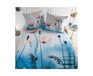 2-persoons dekbedovertrekset Blossom, blauw, 200 x 200/220 cm