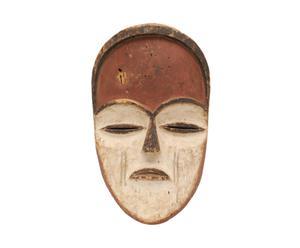 Vintage masker Mask, wit/rood/bruin, lengte 33 cm