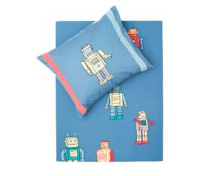 1-persoons dekbedovertrekset Retro Robot, blauw, 120 x 150/170 cm
