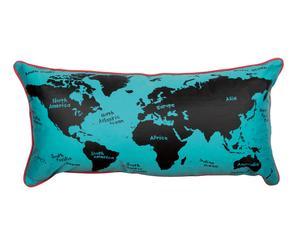 Kussen Around the World, blauw/zwart, 30 x 60 cm