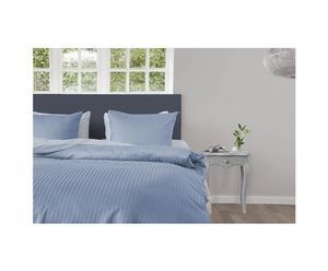 1-persoons dekbedovertrekset Uni Stripe, lichtblauw, 140 x 220 cm