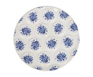 Handgemaakt decoratief bord Boeketten, blauw/wit, diameter 29 cm