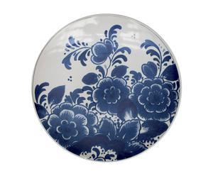 Handgemaakt decoratief bord Bloemen, blauw/wit, diameter 29 cm