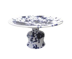 Handgemaakte keramieken taartplateau Cake, blauw/wit, diameter 39 cm