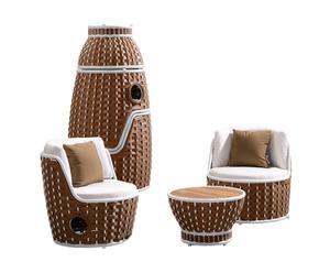 Lounge-set Shenzhoux I, bruin/wit