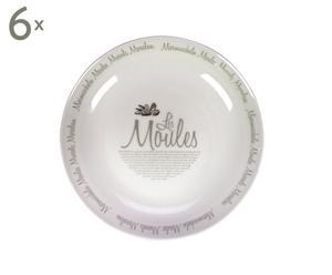 Set van 6 mosselschalen Les Moules, wit, diameter 28,5 cm