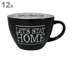 Set van 12 koppen Jumbo Let\'s stay home, zwart/wit, H 8 cm