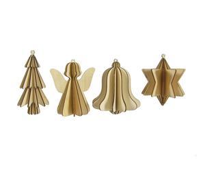 Set van 8 kerstversieringen Lize, bruin