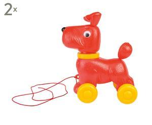 Set van 2 speelgoed Hondjes op wielen rood, rood/geel, 30 x 20 cm