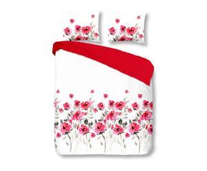 2-Persoons dekbedovertrek Flowerdream, rood, 200 x 200/220 cm