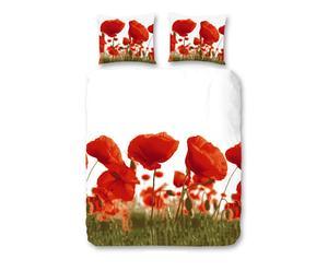 2-Persoons dekbedovertrek Poppy, rood, 200 x 200/220 cm
