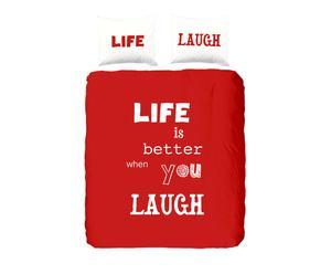 1-Persoon dekbedovertrek Laugh, rood, 140 x 200/220 cm