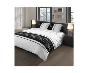 2-Persoons dekbedovertrek Descanso, wit/zwart, 200 x 200/220 cm