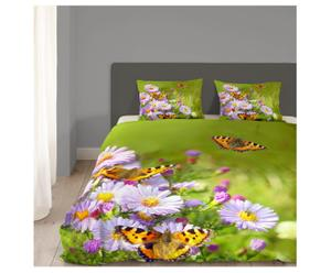 2-persoons dekbedovertrekset Butterfly, groen, 200 x 200/220 cm