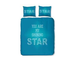 1-persoons dekbedovertrekset Star, turquoise, 140 x 200/220 cm