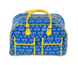 Weekendtas Diamonds, blauw/geel, B 48 cm