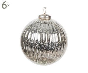 Set van 6 kerstballen Christmas II, zilver, diameter 10 cm