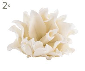 Set van 2 decoratieve bloemen Maja, wit, diameter 25 cm