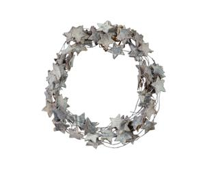 Set van 4 decoratieve kerstkransen Frosty Forest Wreath L  grijs diameter 13 cm