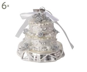 Set van 6 kerstballen Magic Wedding Cake X-mas  zilver L 9 cm
