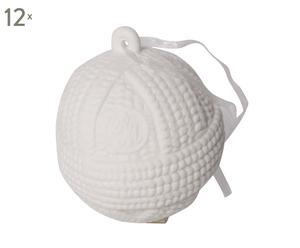 Set van 12 kerstballen Pretty Porcelain Knitted  wit diameter 7,5 cm