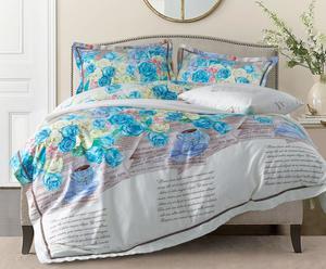 1-Pers dekbedovertrekset Roses katoen-satijn, turquoise, 140 x 200/220 cm