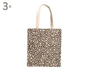 Set van 3 luxe boodschappentasjes Jungle, ecru/zwart