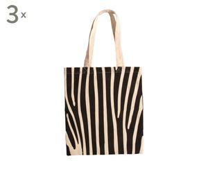 Set van 3 luxe boodschappentasjes Jungle, zwart/wit