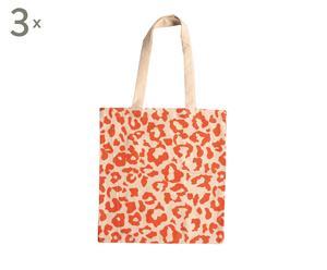 Set van 3 luxe boodschappentasjes Jungle, ecru/oranje