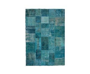 Handgemaakt patchwork tapijt Cole, blauw, 300 x 201 cm
