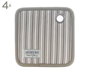 Set van 4 pannenlappen Stripe, beige/wit, 20 x 20 cm