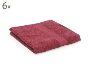 Set van 6 handdoeken Soft, bordeauxrood, 50 x 100 cm