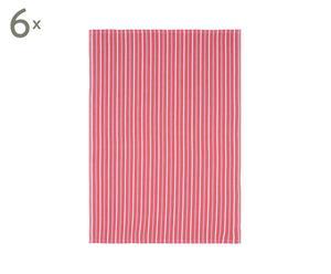 Set van 6 vaatdoeken Timeless, rood, 50 x 70 cm