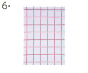 Set van 6 vaatdoeken Timeless, wit/rood, 50 x 70 cm