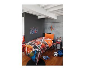 1-persoons dekbedovertrekset KNVB Team Spirit, oranje, 140 x 200 cm