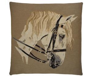 Kussen Horse Gear, wit, 45 x 45 cm