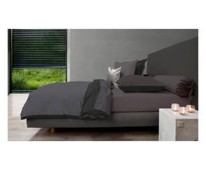 Dekbedovertrek Perkal, grijs/zwart, 260x220cm