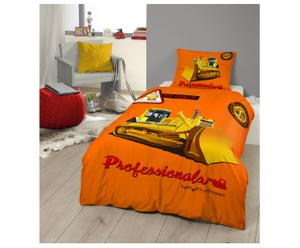 1-persoons dekbedovertrekset Bulldozer, oranje, 140 x 200/220 cm