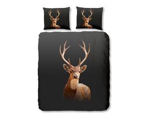 Dekbedovertrekset Deer, antraciet, 140 x 200/220 cm