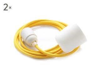 Textiel-kabellamp, DUO, 2 stuks, wit/geel