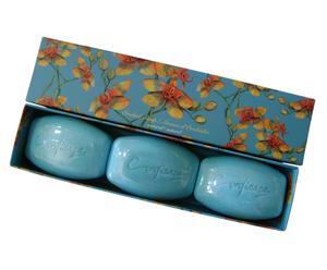 Tvål, Orchid box 3x150g - blå - Jasmin, ros, viol