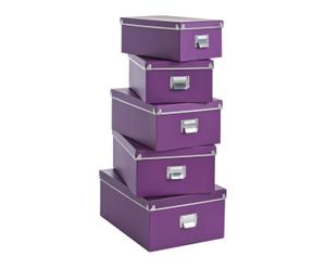 """Zestaw 5 pudełek """"Pappe"""", fioletowy"""