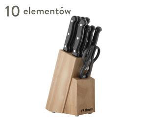 """7 noży, widelec, nożyczki i drewniany blok """"Stratus"""""""