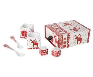 """Zestaw kieliszków i łyżeczek do jajek w pudełku """"Christmas Deer"""""""