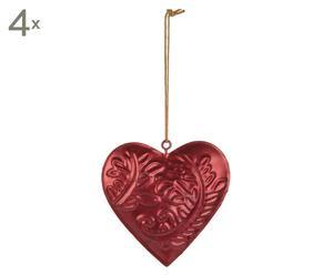 """Komplet 4 dekoracyjnych serc """"Flame"""", czerwony"""