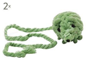 """Zestaw 2 zabawek dla kota """"Rope Mouse"""", zielony"""
