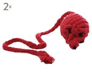 """Zestaw 2 zabawek dla kota """"Rope Mouse"""", czerwony"""