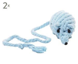 """Zestaw 2 zabawek dla kota """"Rope Mouse"""", błękitny"""