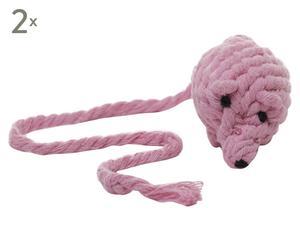"""Zestaw 2 zabawek dla kota """"Rope Mouse"""", różowy"""